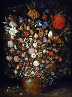 Flowers in a Wooden Vessel by Jan Brueghel the Eld