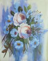 Floral Roses and Blue Blossoms Painting