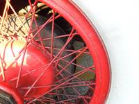 Red Spoke Wheel with White Tire