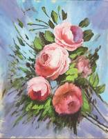 Floral Red Roses Painting with Blue Background