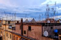 Rooftops with satellite dish and antennas