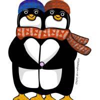 Penguin Couple Art Prints & Posters by LD Gonzalez