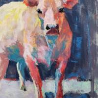 Barney The Red Cow Art Prints & Posters by Sandy Lindblad