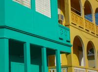 Yellow and Aqua Architecture in  Puerto Rico