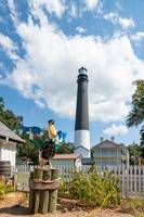 Pensacola Lighthouse with Pelican Vertical