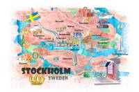 Stockholm Sweden Illustrated Map with Main Roads L
