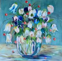 White and blue tulips