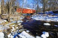 Covered Bridge Over the Cabin Run Creek During Win