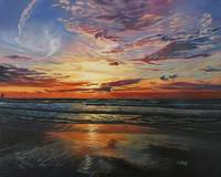 Original oil painting sunset at ocean