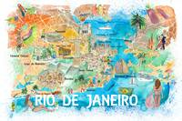 Rio de Janeiro Illustrated Map with Main Roads Lan