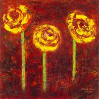 Three Yellow Roses Oil on Canvas