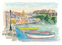 Procida Italy Boats and Harbour in the Afternoon