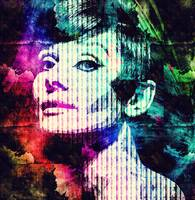 Digital Pop art portrait of icon Audrey Hepburn