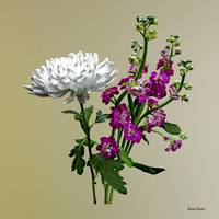 White Chrysanthemum and Purple Snapdragons