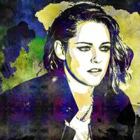Digital Pop art portrait of celebrity Kristen Stew