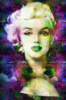 Digital Pop art portrait of celebrity Marilyn Monr