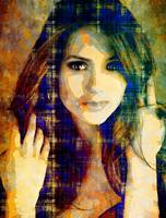 Digital Pop art portrait of celebrity Nina Dobrev