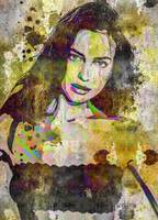 Digital Pop art portrait of celebrity Irina Shayk