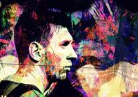 Digital Pop art portrait of football player Messi