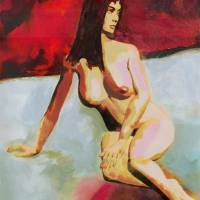 Fine Art Female Nude Seated Multimedia Acrylic Oil Art Prints & Posters by g. linsenmayer