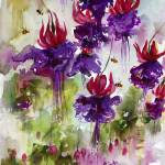 Pink Fuchsia Watercolor Flower Art Prints & Posters