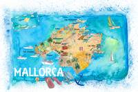 Mallorca Spain Illustrated Map with Landmarks and