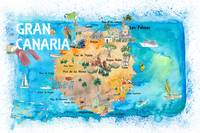 Gran Canary Canarias Spain Illustrated Map with La