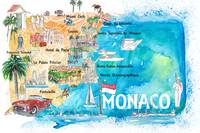 Monaco Monte Carlo Illustrated Map with Landmarks
