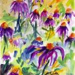 Echinecea and Bees Summer Watercolors Prints & Posters