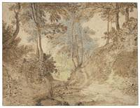 Flemish School, 17th Century Wooded Landscape with