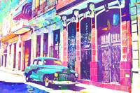 Abstract Watercolor - Havana Cuba Classic Car II