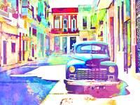 Abstract Watercolor - Havana Cuba Classic Car IIi
