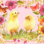 Cheerful Chicks, watercolor of chicken art Prints & Posters