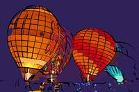 Night Glow Hot Air Balloons In Abstract