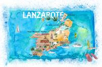 Lanzarote Canarias Spain Illustrated Map with Land