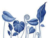 Blue Exotic Tropical Botanical Watercolor Leaves