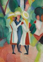 August Macke~Three girls in yellow straw hats I