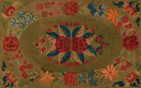 c. 1860~Rug, olive green ground with roses