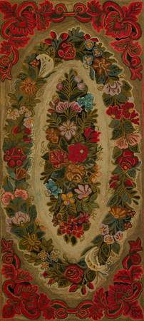 c. 1870~Rug, double ovals of flowers