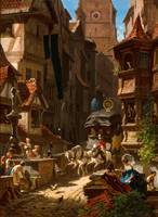 Carl Spitzweg~Arrival of the Stagecoach
