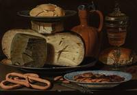 Clara Peeters~Still Life with Cheeses, Almonds and