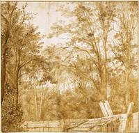 Cornelis Vroom~Trees behind a Wooden Fence, c. 163