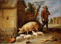 David Teniers the Younger~A Sow and her Litter