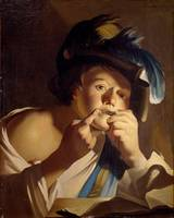 Dirck van Baburen~Young man with jew's harp