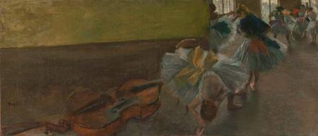 Edgar Degas~Dancers in the Rehearsal Room with a D