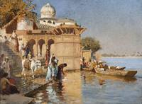 Edwin Lord Weeks~Along the Ghats, Mathura