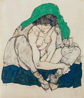 Egon Schiele~Crouching Woman with Green Headscarf