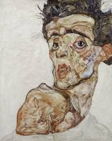 Egon Schiele~Self-Portrait with Raised Bare Should