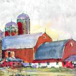 Country Landscape Red Barn and Silos by RD Riccoboni