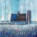 Blue Country Barn and Silo Farm Art by RD Riccoboni